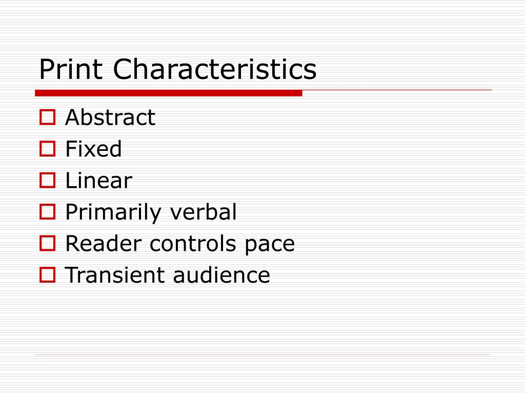 Print Characteristics