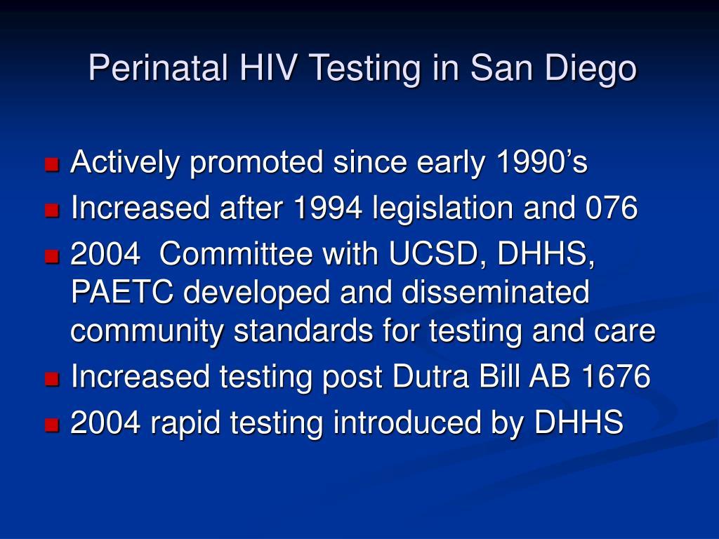 Perinatal HIV Testing in San Diego