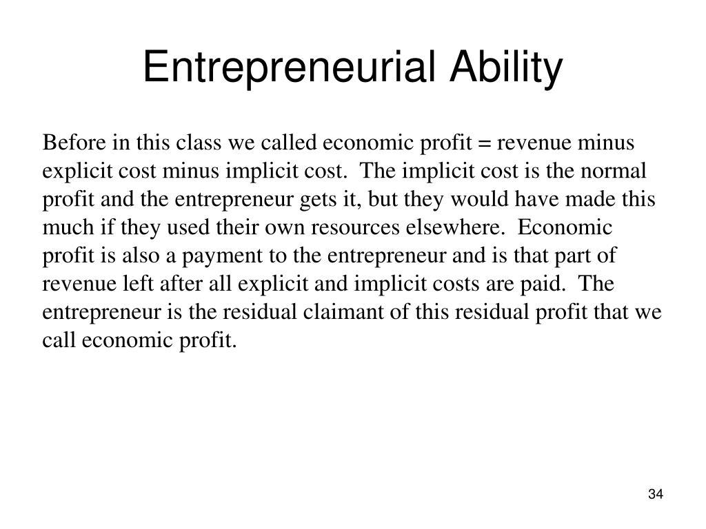 Entrepreneurial Ability