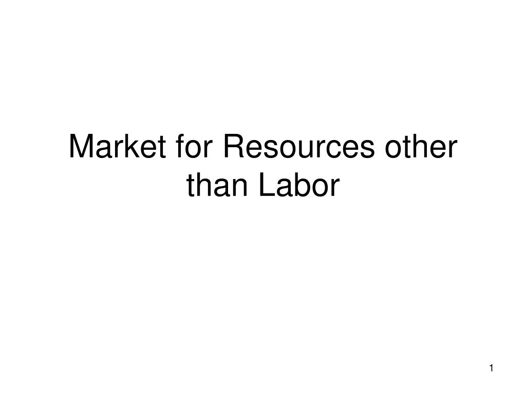 Market for Resources other than Labor