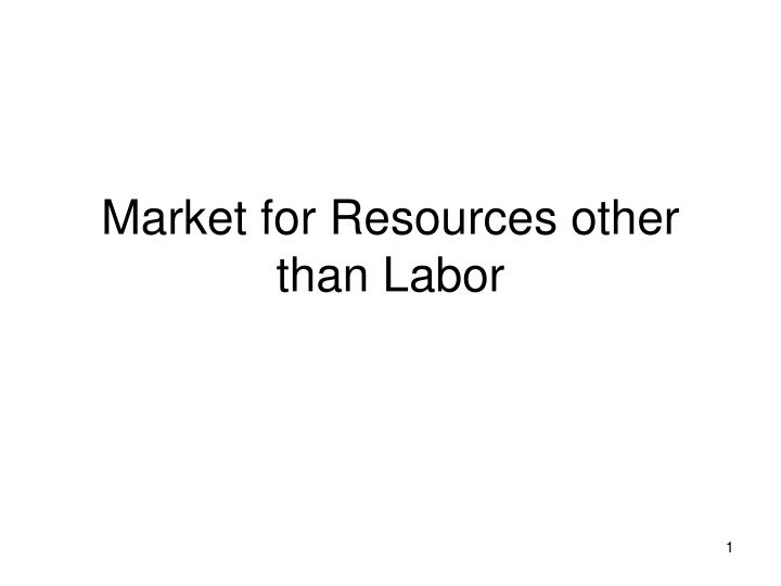 Market for resources other than labor l.jpg
