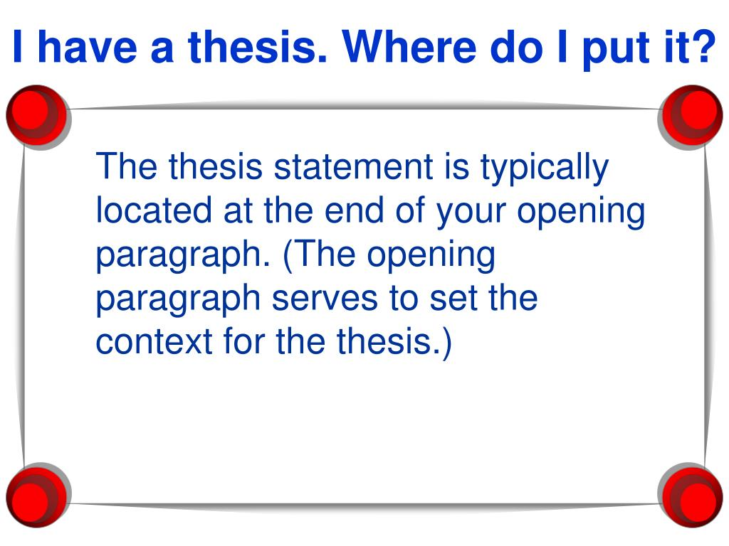 I have a thesis. Where do I put it?