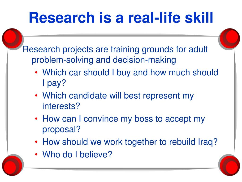 Research is a real-life skill