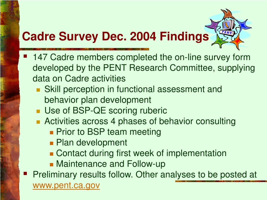 Cadre Survey Dec. 2004 Findings