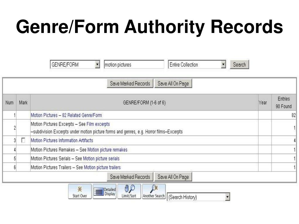 Genre/Form Authority Records
