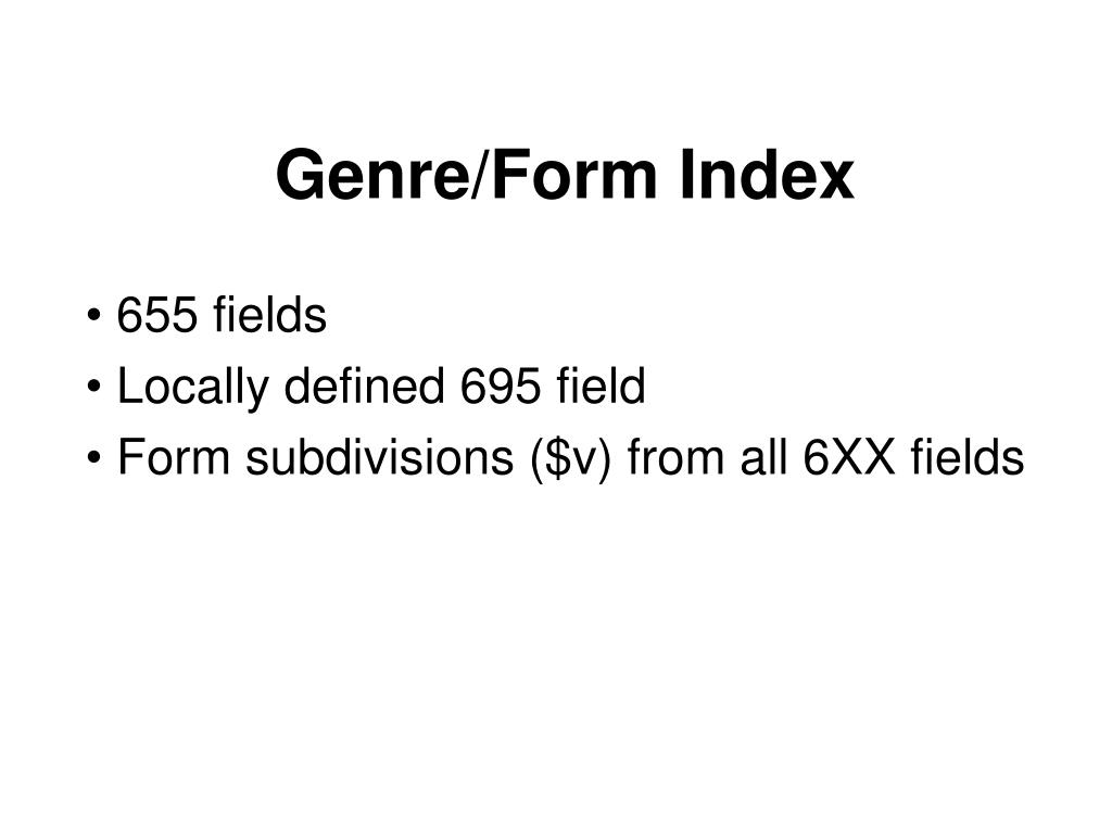 Genre/Form Index