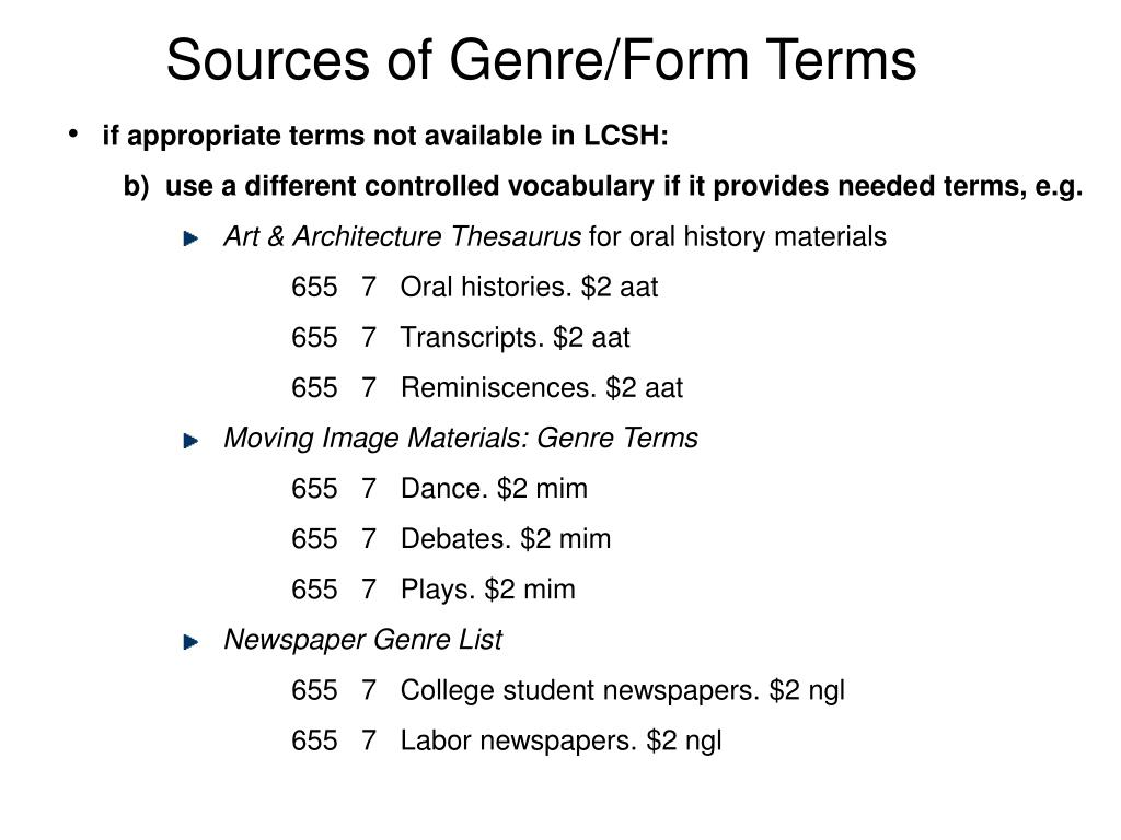 Sources of Genre/Form Terms