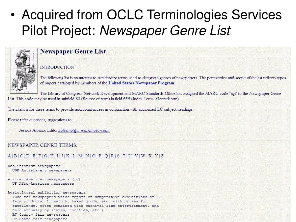 Acquired from OCLC Terminologies Services Pilot Project: