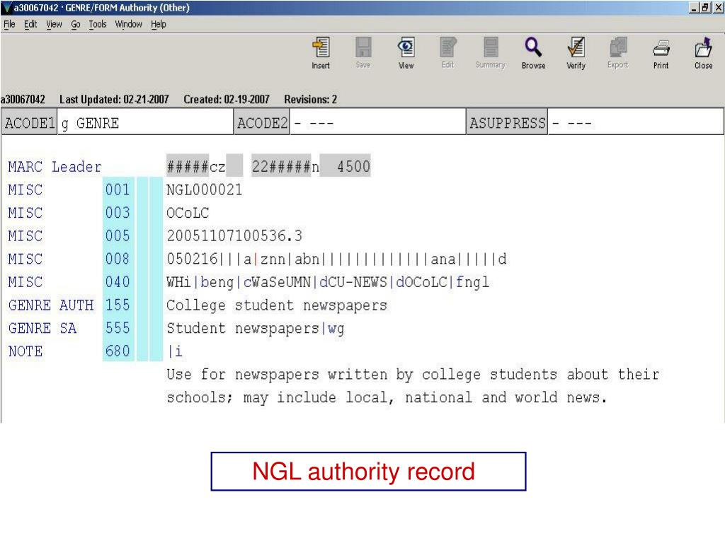 NGL authority record