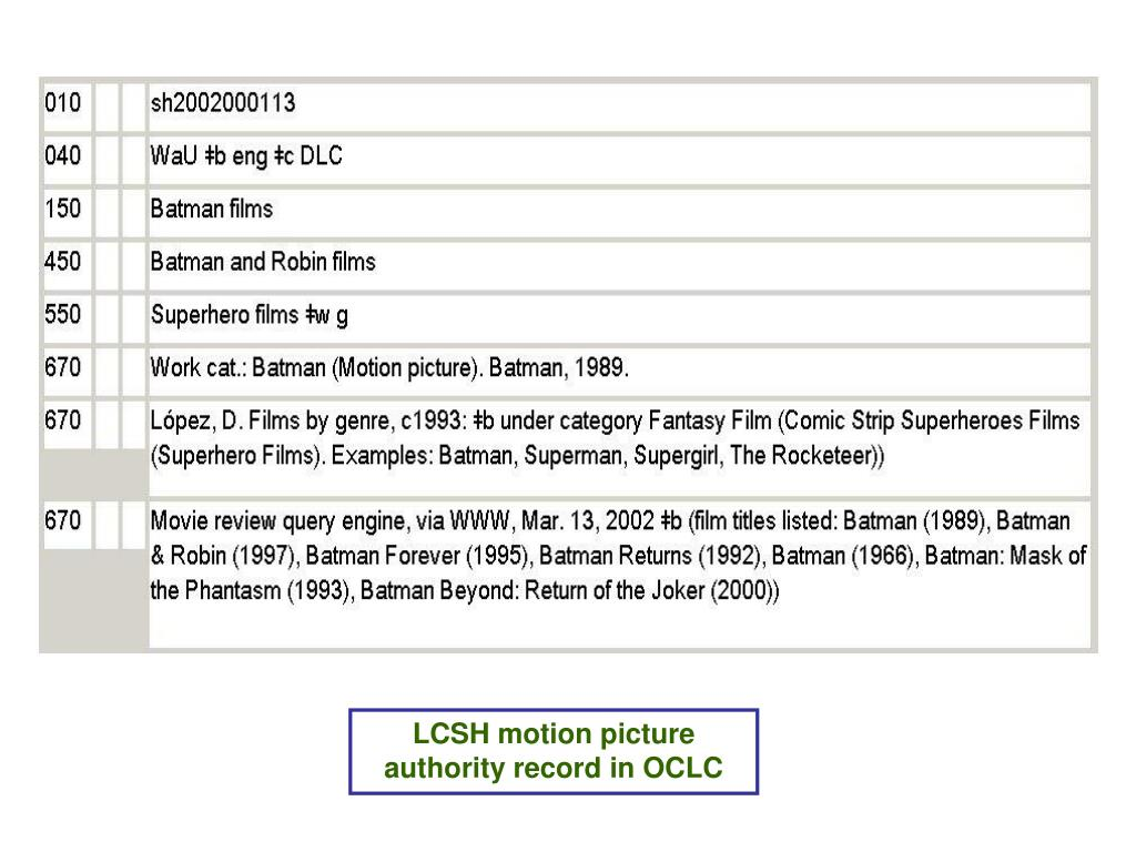 LCSH motion picture authority record in OCLC