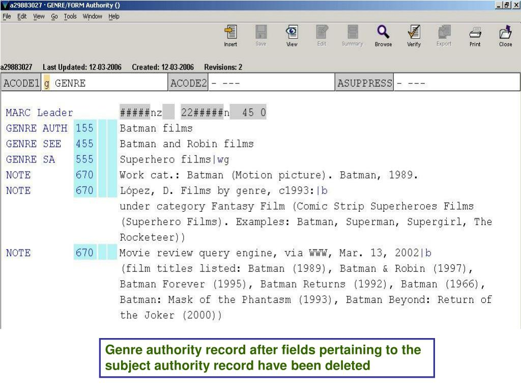 Genre authority record after fields pertaining to the subject authority record have been deleted