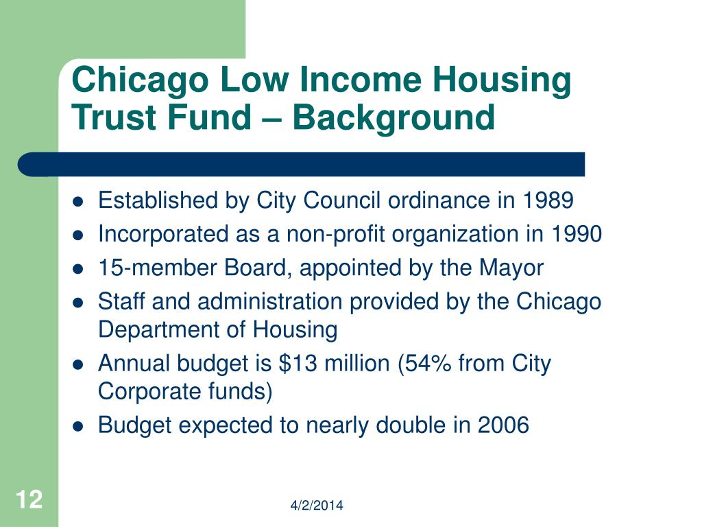 Chicago Low Income Housing Trust Fund – Background