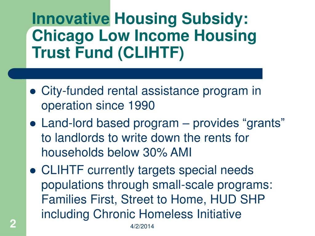 Innovative Housing Subsidy:
