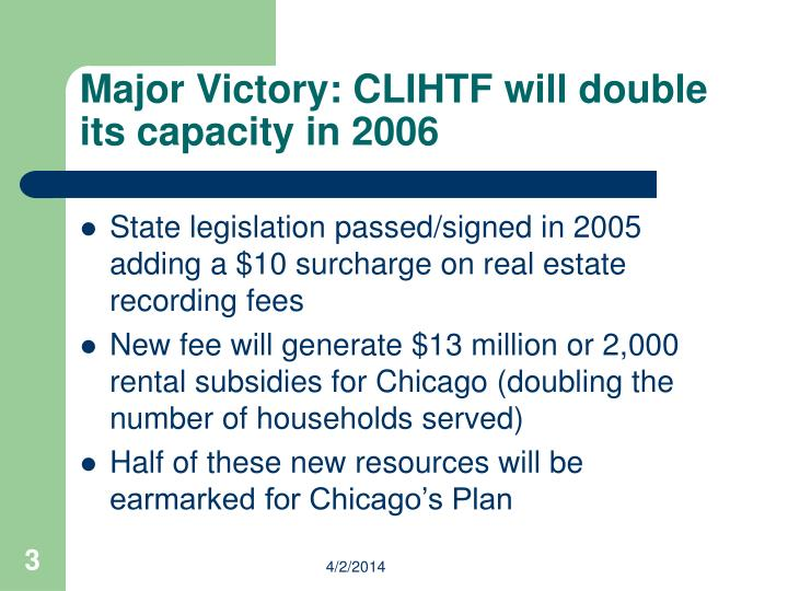Major victory clihtf will double its capacity in 2006 l.jpg
