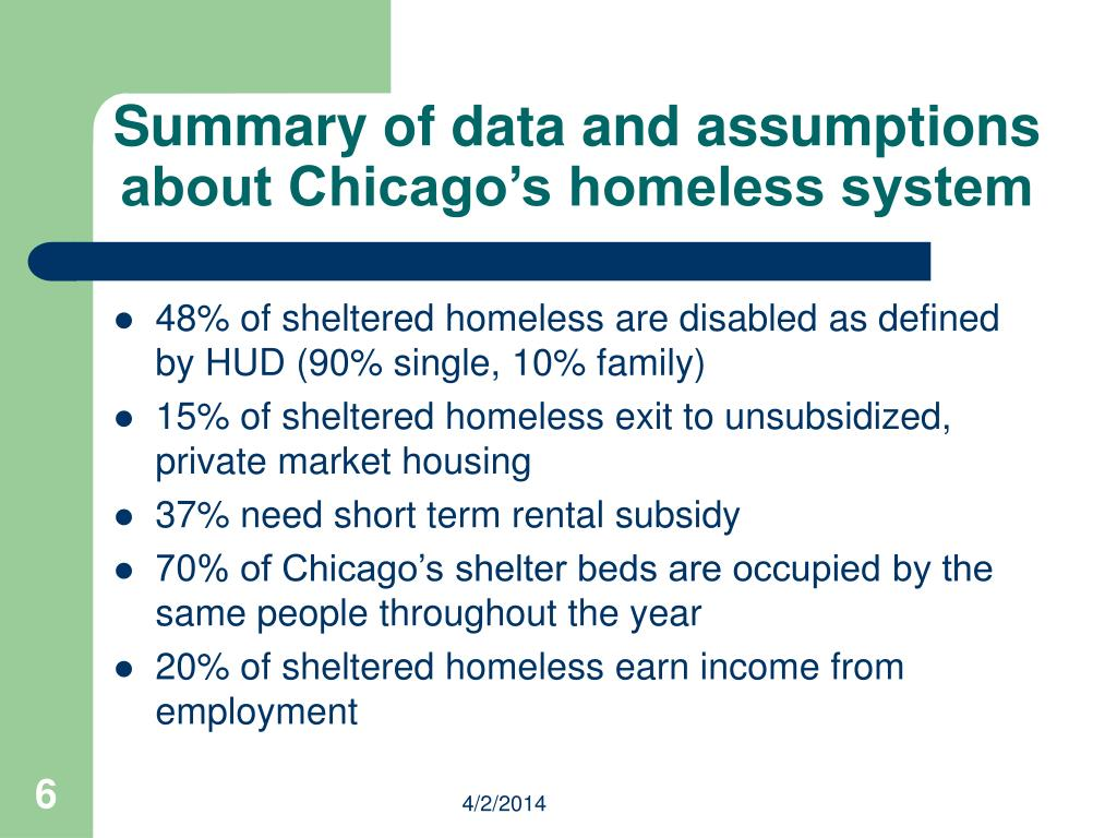 Summary of data and assumptions about Chicago's homeless system