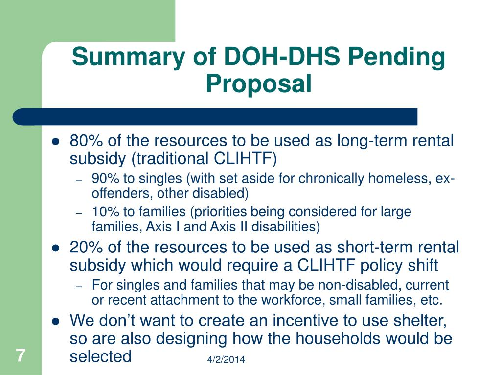 Summary of DOH-DHS Pending Proposal