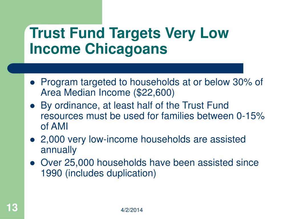 Trust Fund Targets Very Low Income Chicagoans