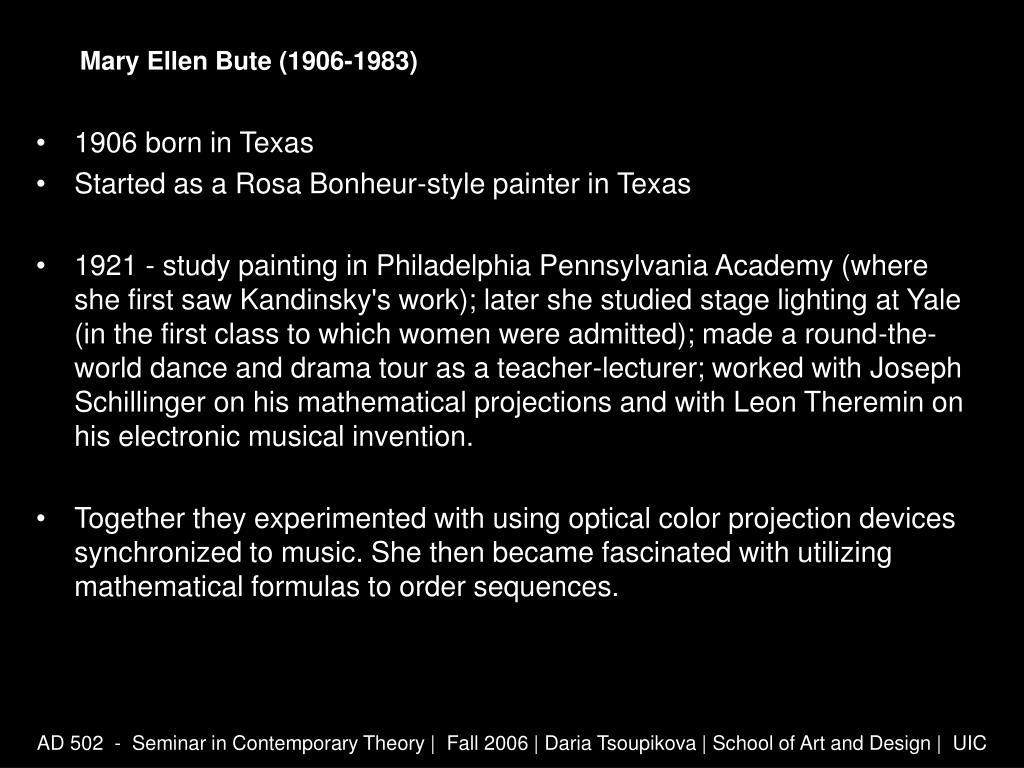 Mary Ellen Bute (1906-1983)
