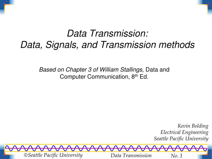 Data transmission data signals and transmission methods