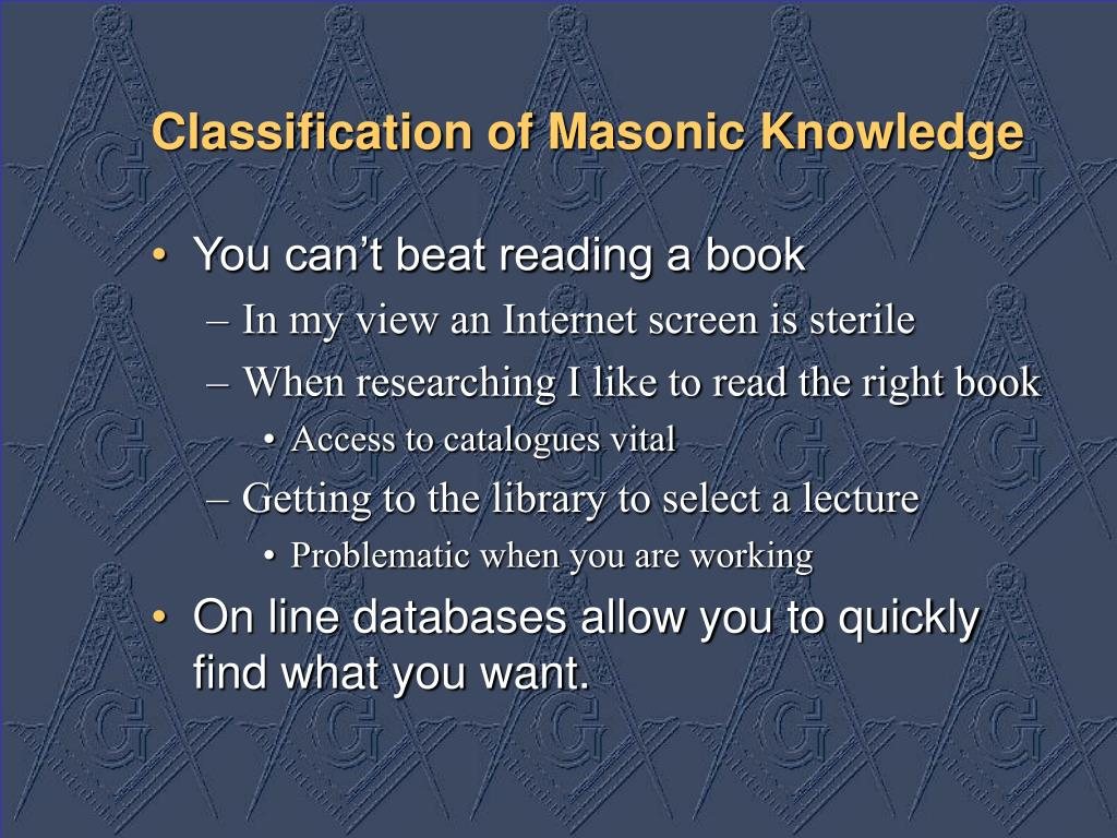 Classification of Masonic Knowledge