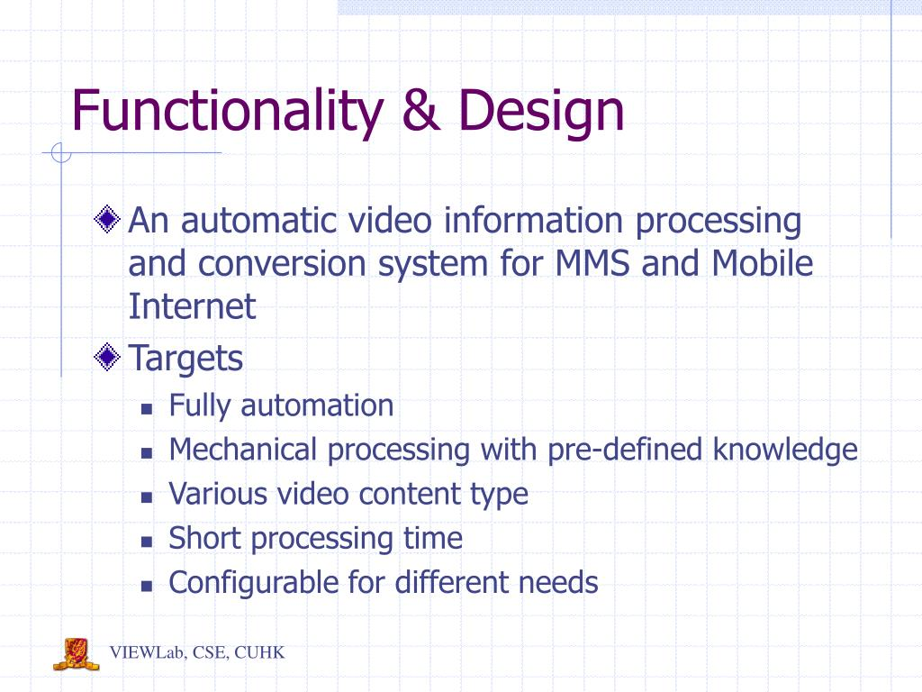 Functionality & Design