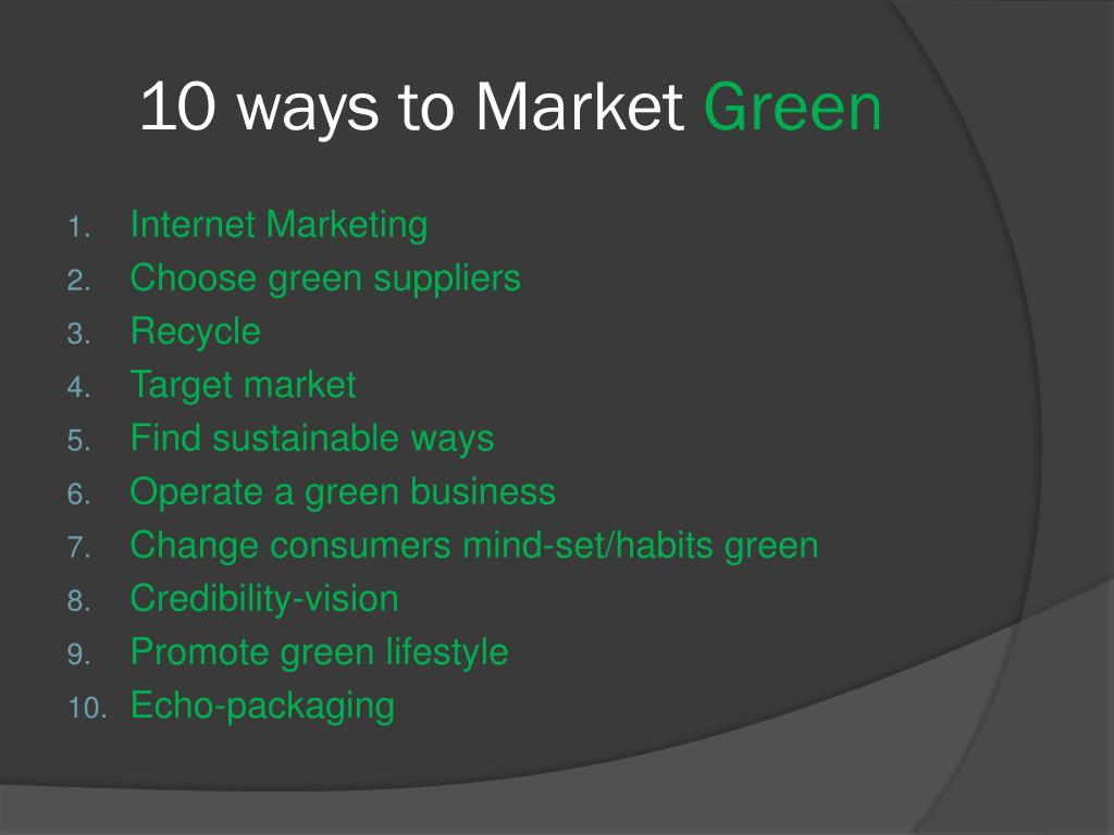 10 ways to Market