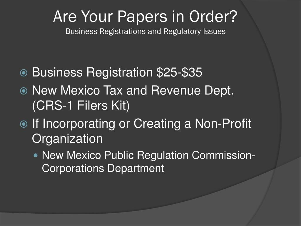 Are Your Papers in Order?