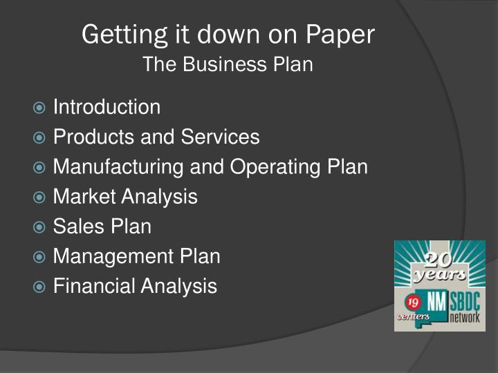 Getting it down on paper the business plan