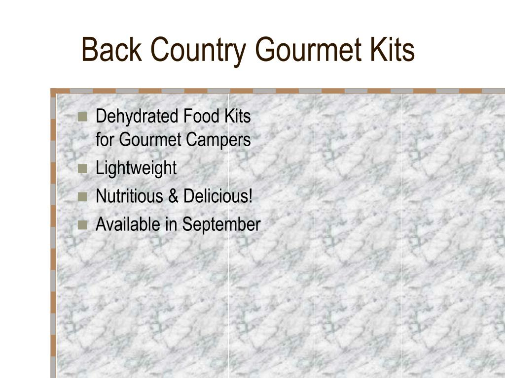 Back Country Gourmet Kits