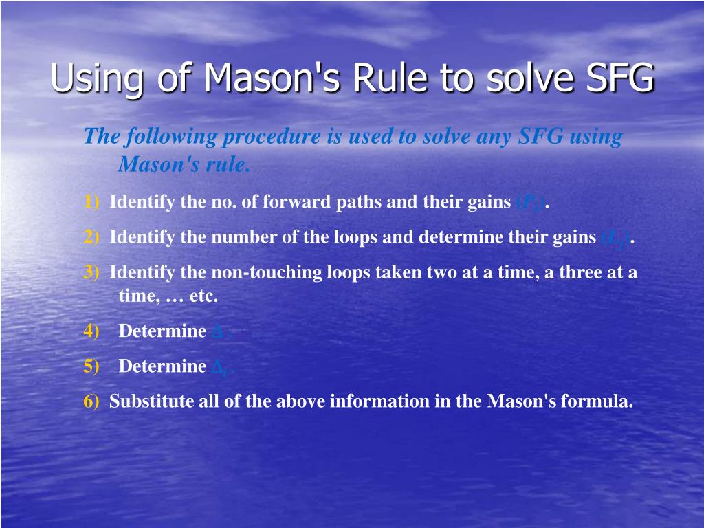 Using of Mason's Rule to solve SFG