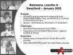 botswana lesotho swaziland january 2005