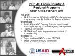 pepfar focus country regional programs south africa february 2004