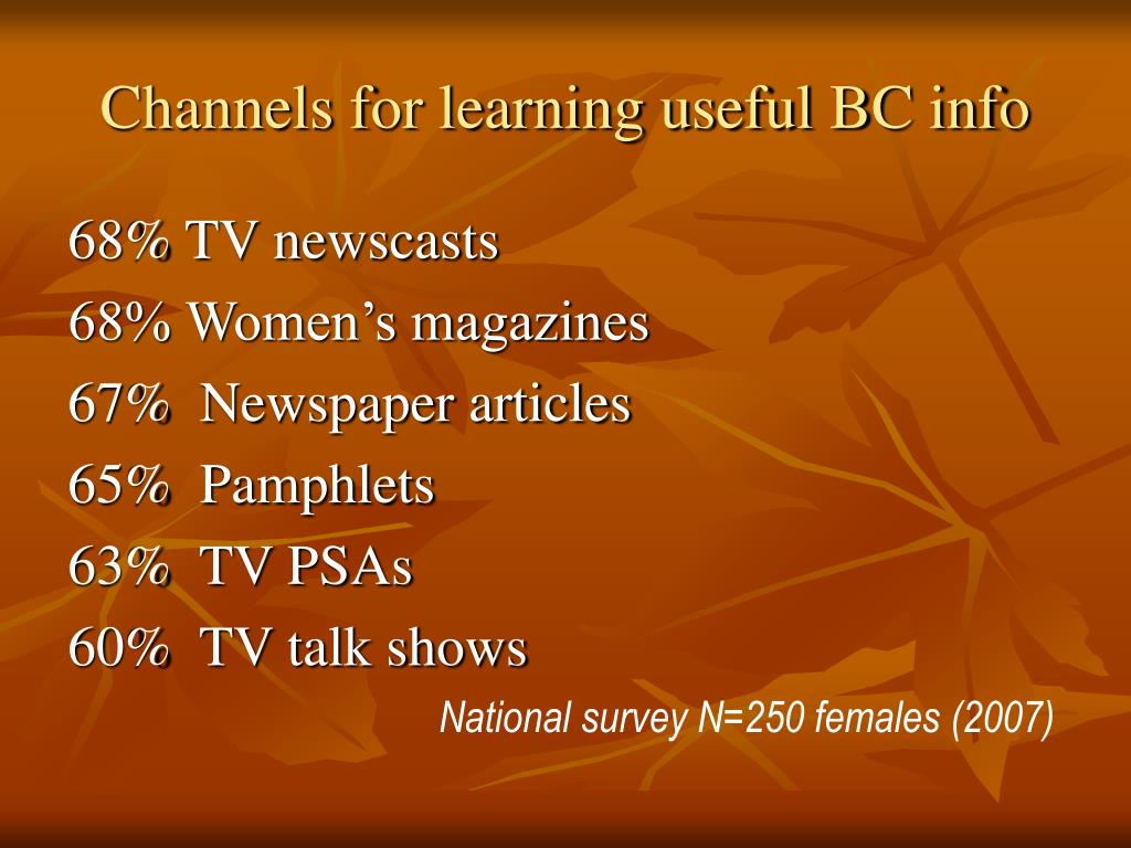 Channels for learning useful BC info