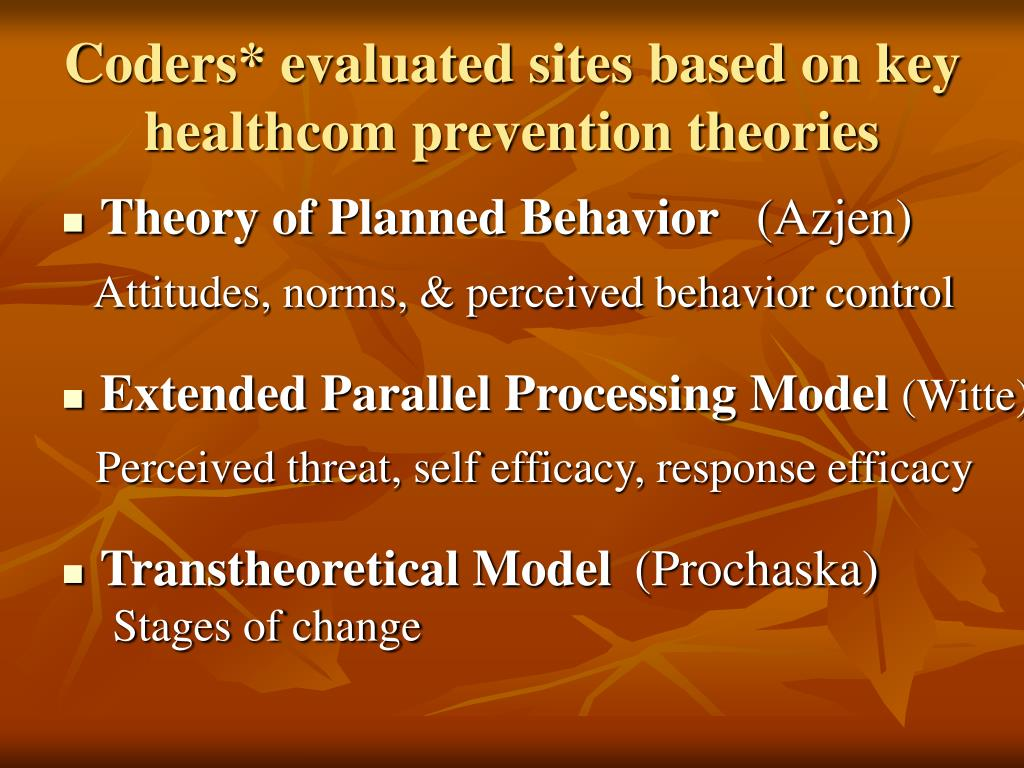 Coders* evaluated sites based on key healthcom prevention theories