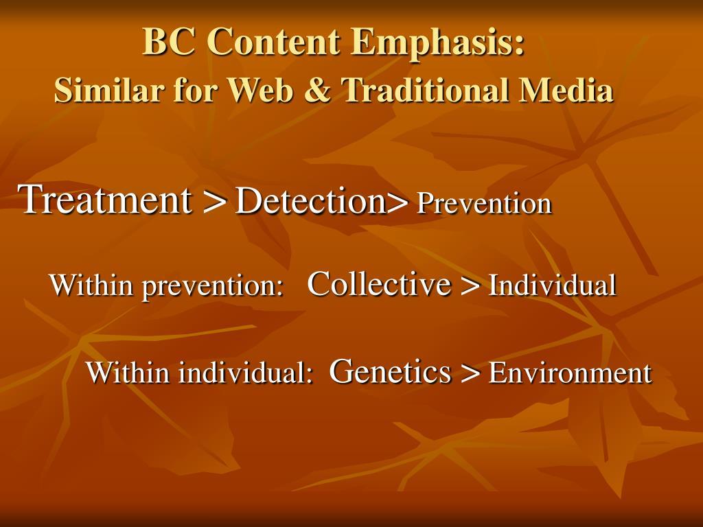 BC Content Emphasis: