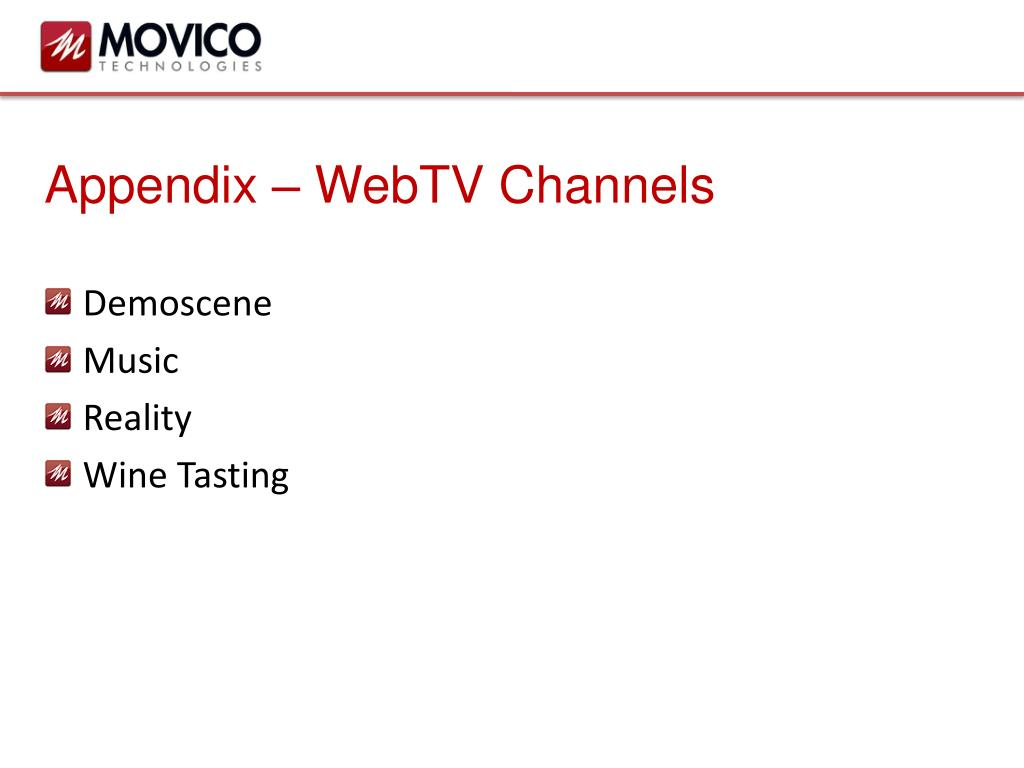 Appendix – WebTV Channels