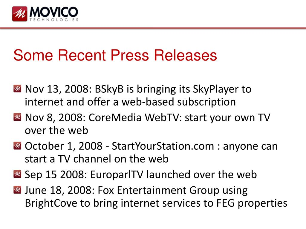 Some Recent Press Releases