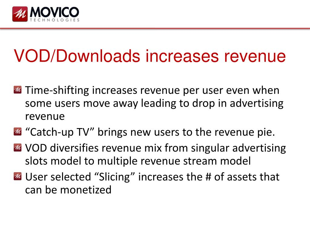 VOD/Downloads increases revenue