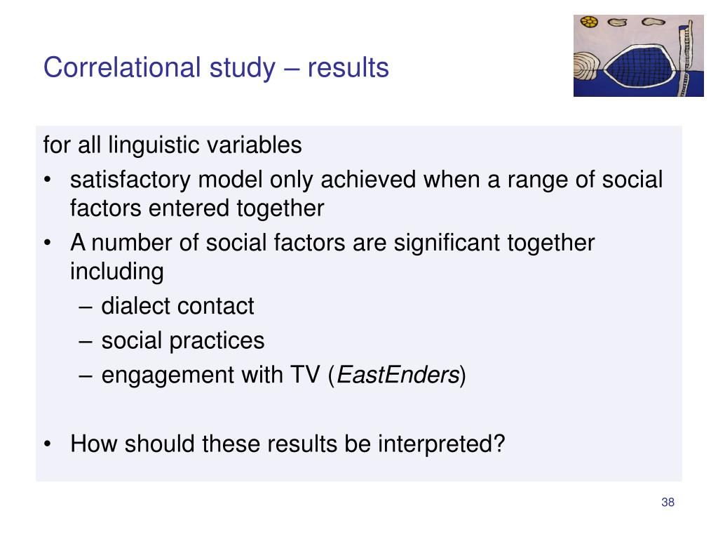 Correlational study – results