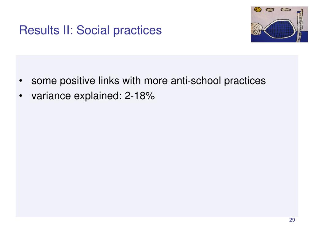 Results II: Social practices