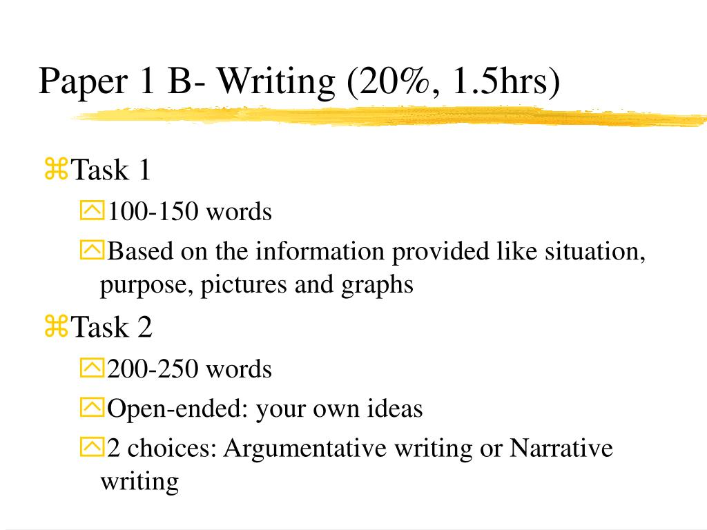 Paper 1 B- Writing (20%, 1.5hrs)
