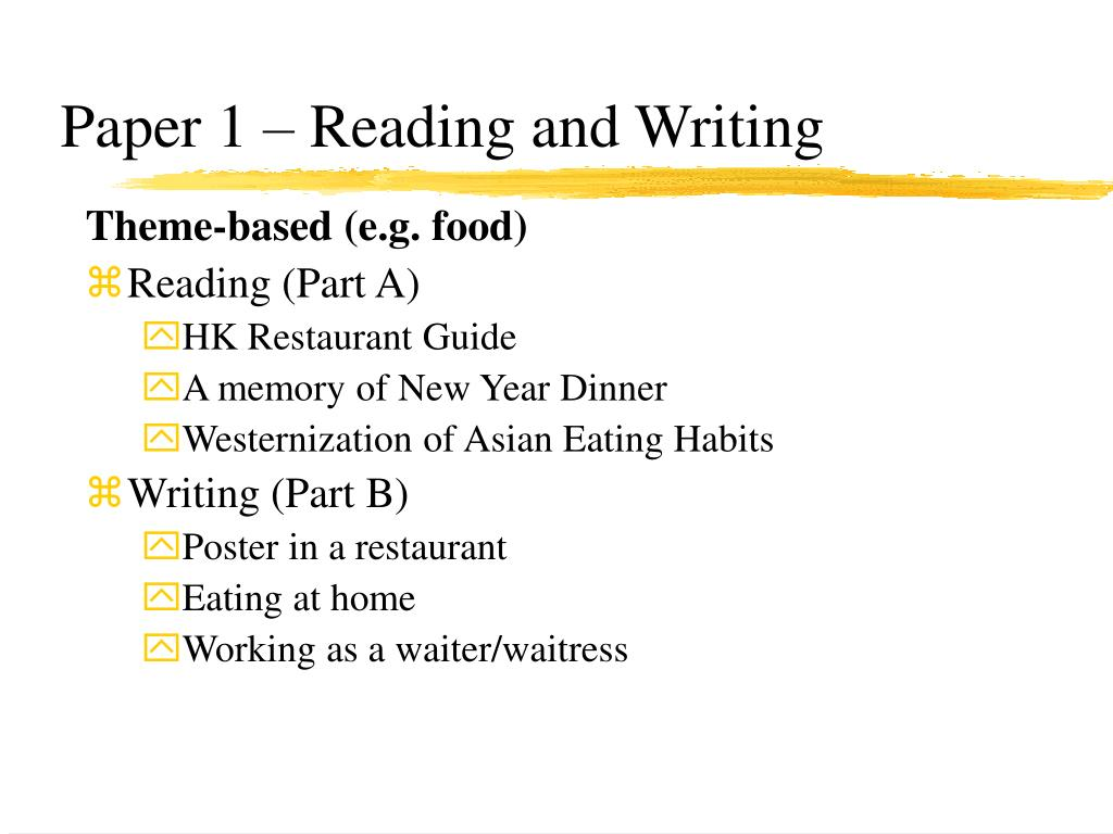Paper 1 – Reading and Writing