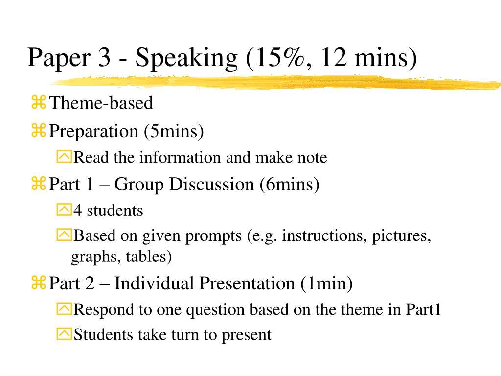 Paper 3 - Speaking (15%, 12 mins)
