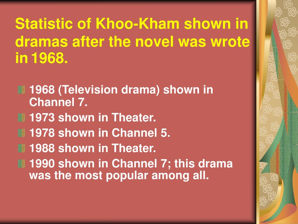Statistic of Khoo-Kham shown in  dramas after the novel was wrote in
