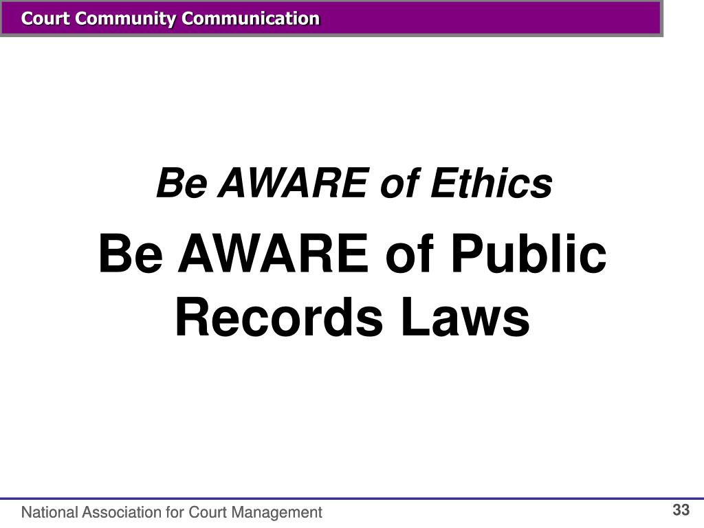 Be AWARE of Ethics