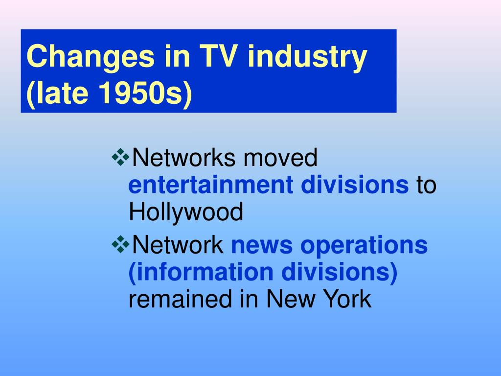 Changes in TV industry