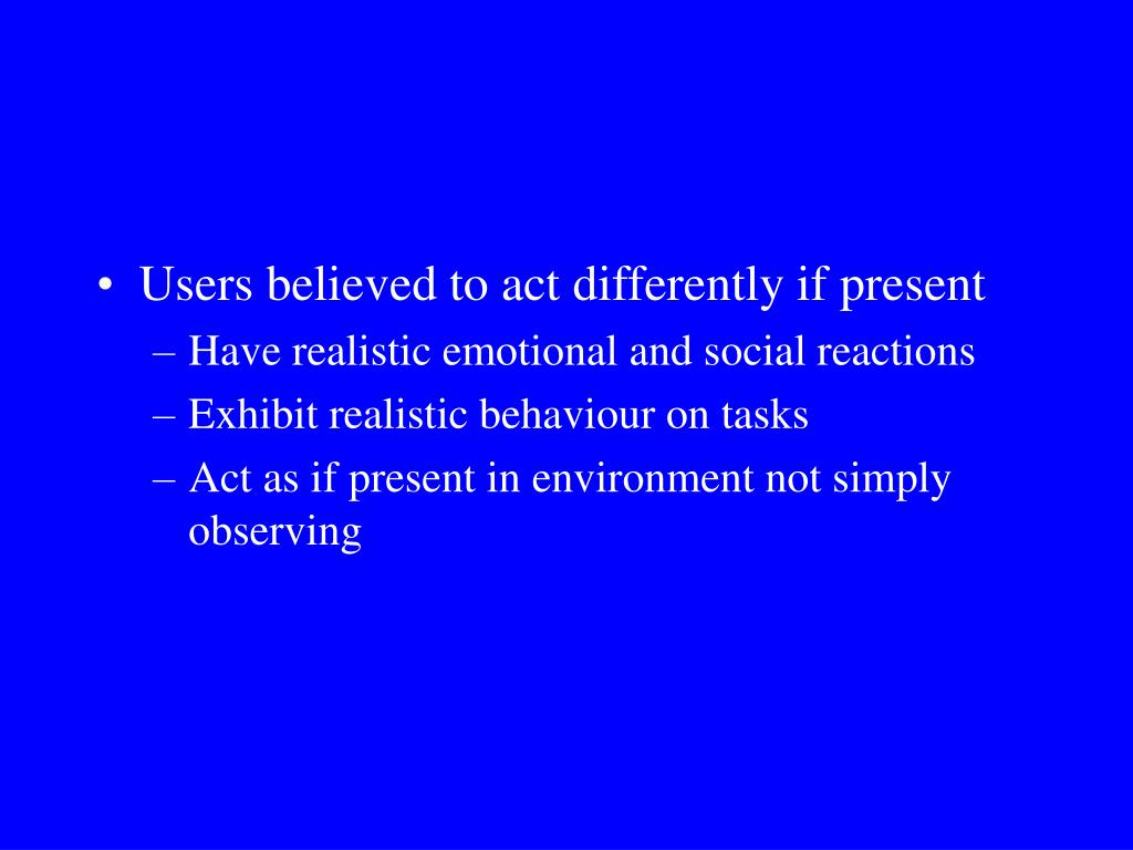Users believed to act differently if present