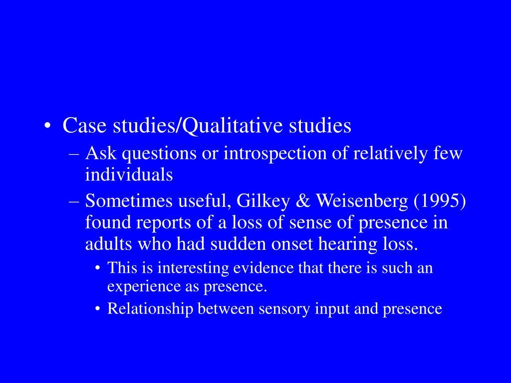 Case studies/Qualitative studies
