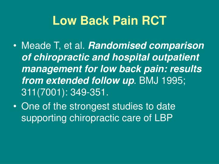 Low back pain rct