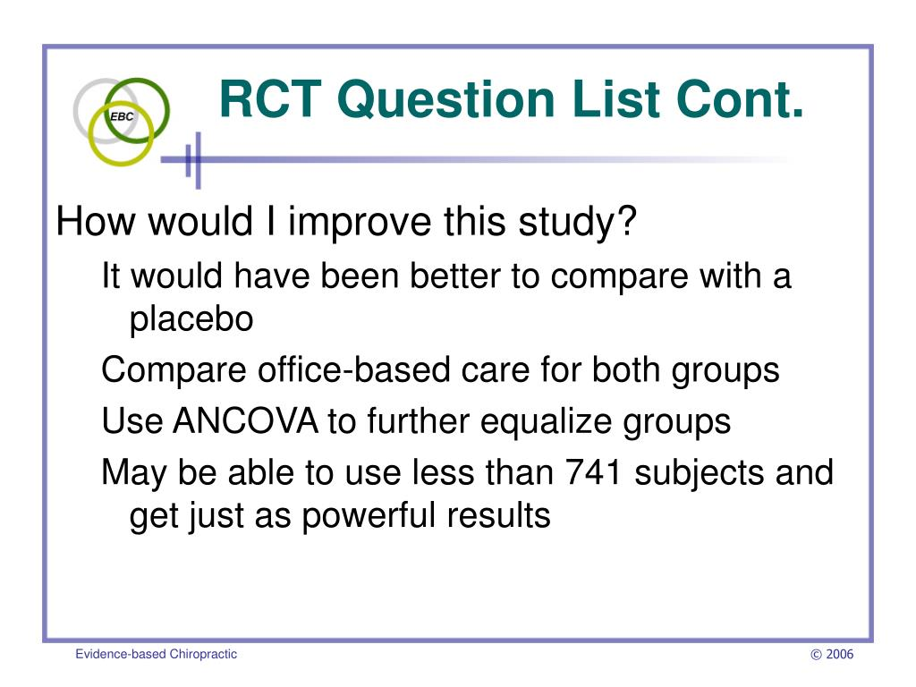 RCT Question List Cont.